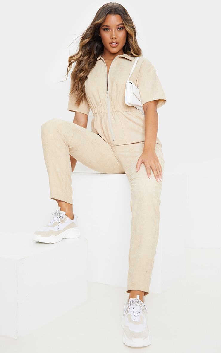 Stone Cord Zip Through Short Sleeve Jumpsuit 2