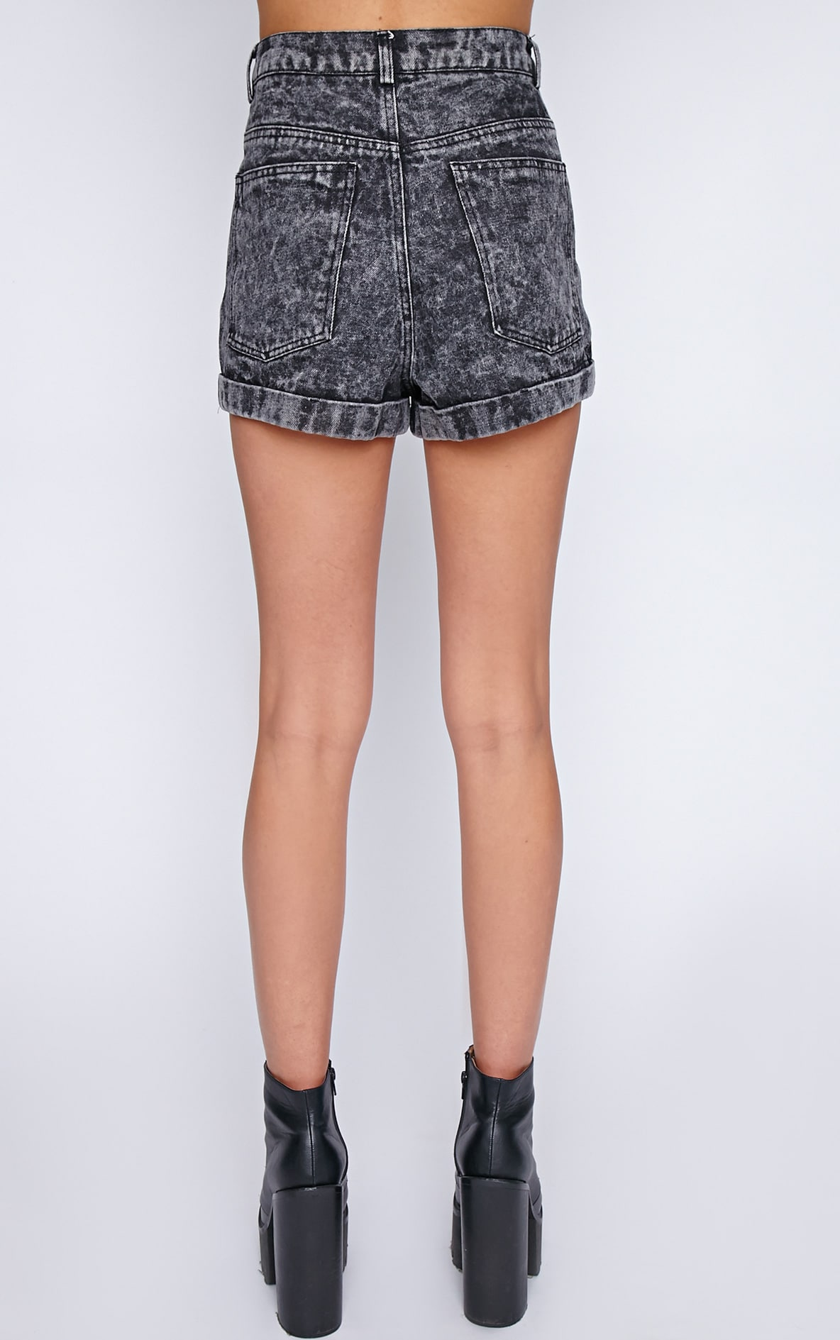 Farren Charcoal Acid Wash Shorts 2