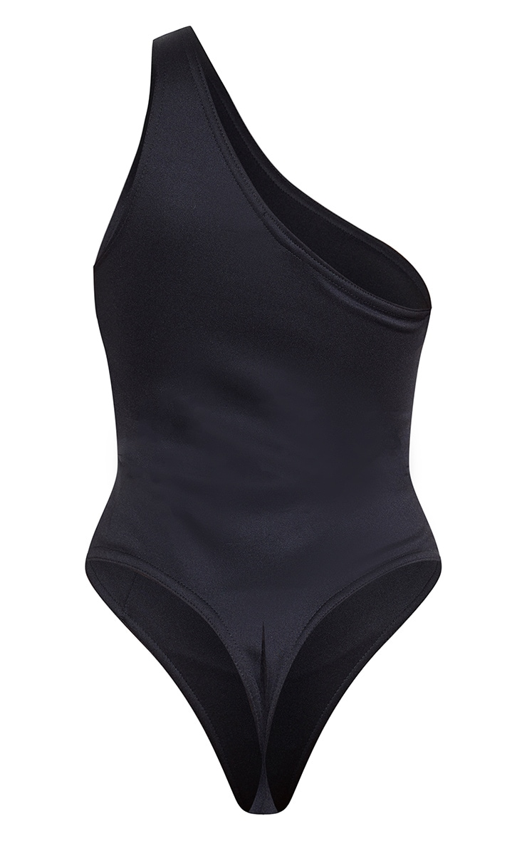 Black One Shoulder Scuba Bodysuit 4