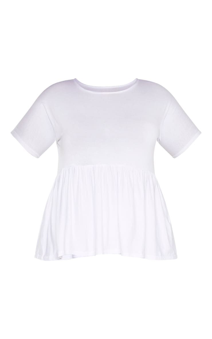 Plus White Frill Hem T Shirt 3