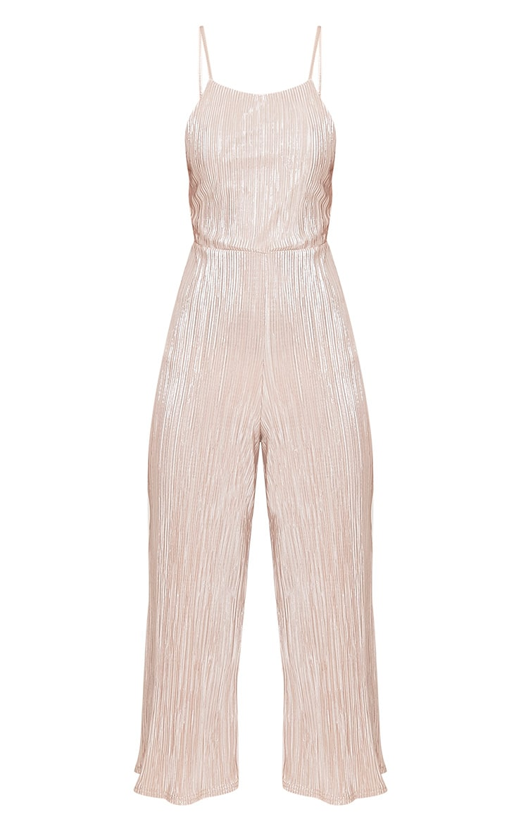 Lissy Gold Pleated Strappy Tie Back Jumpsuit 3