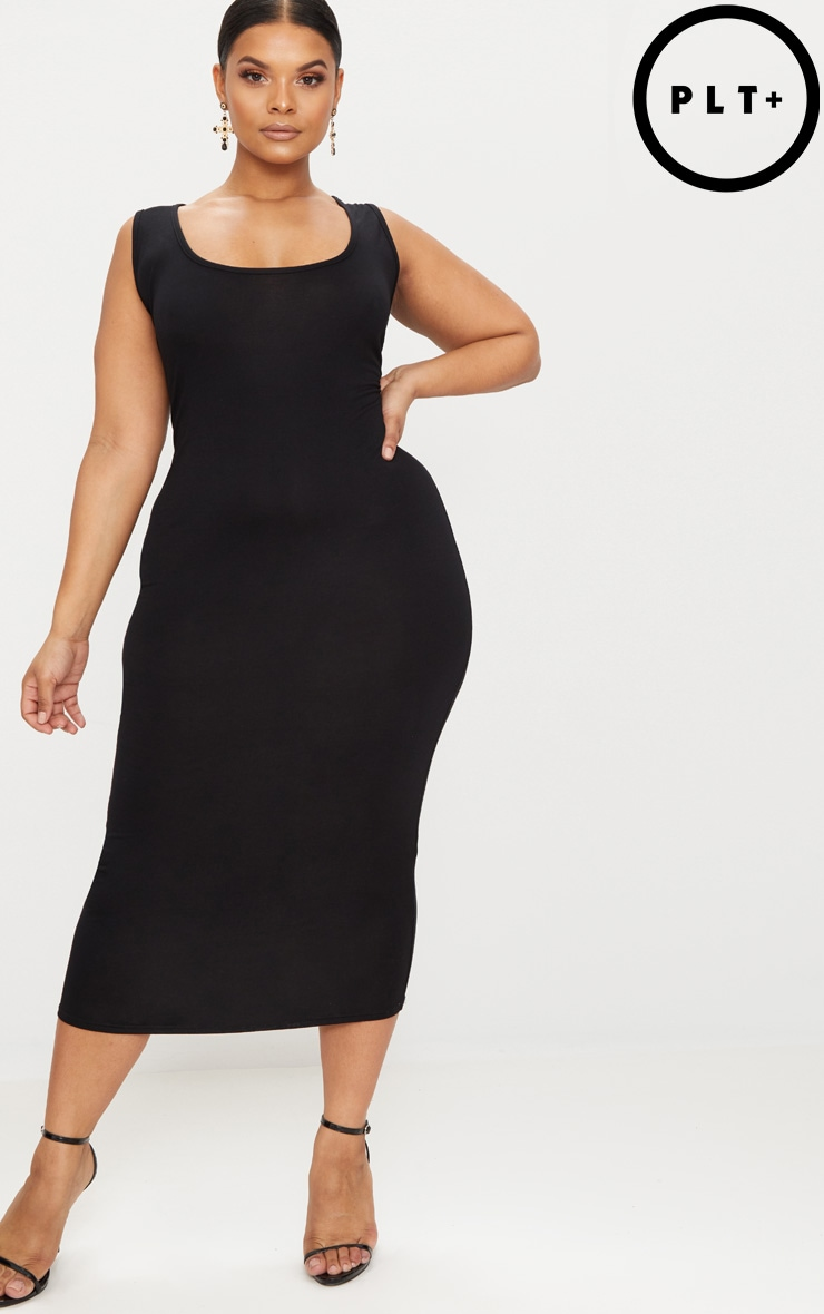 Plus Black Basic Jersey Midi Dress 1