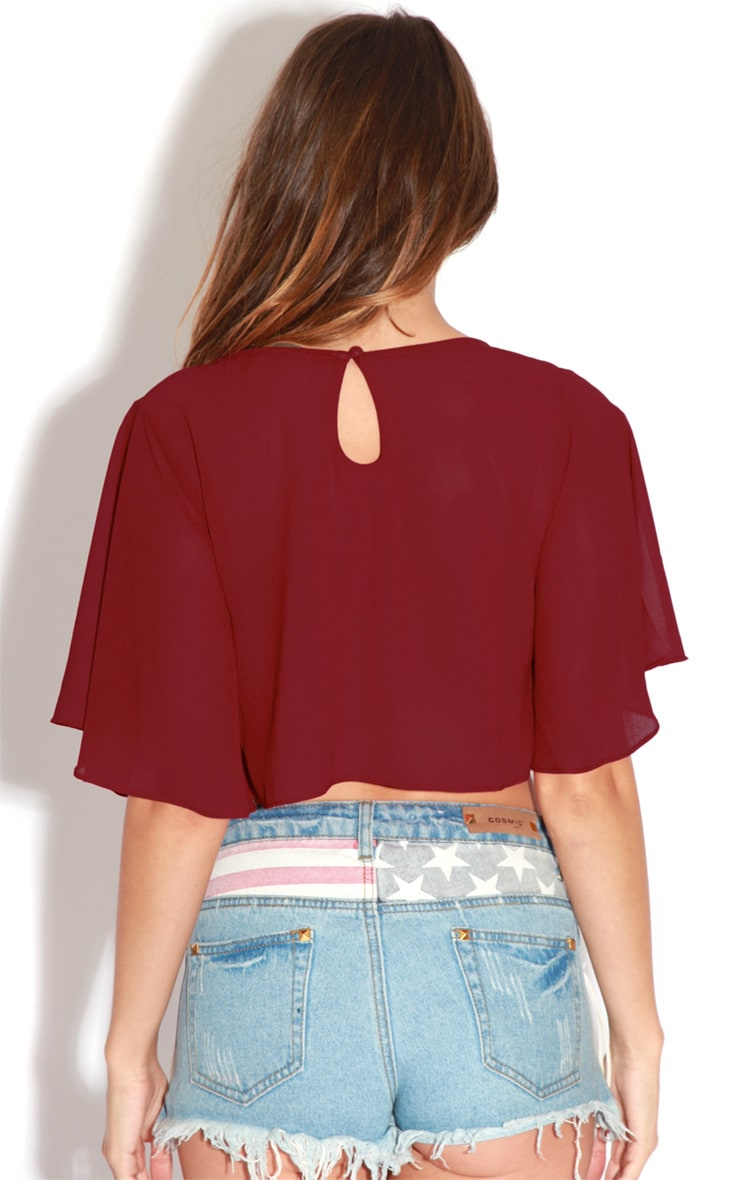 Gemma Burgundy Chiffon Crop Top 2