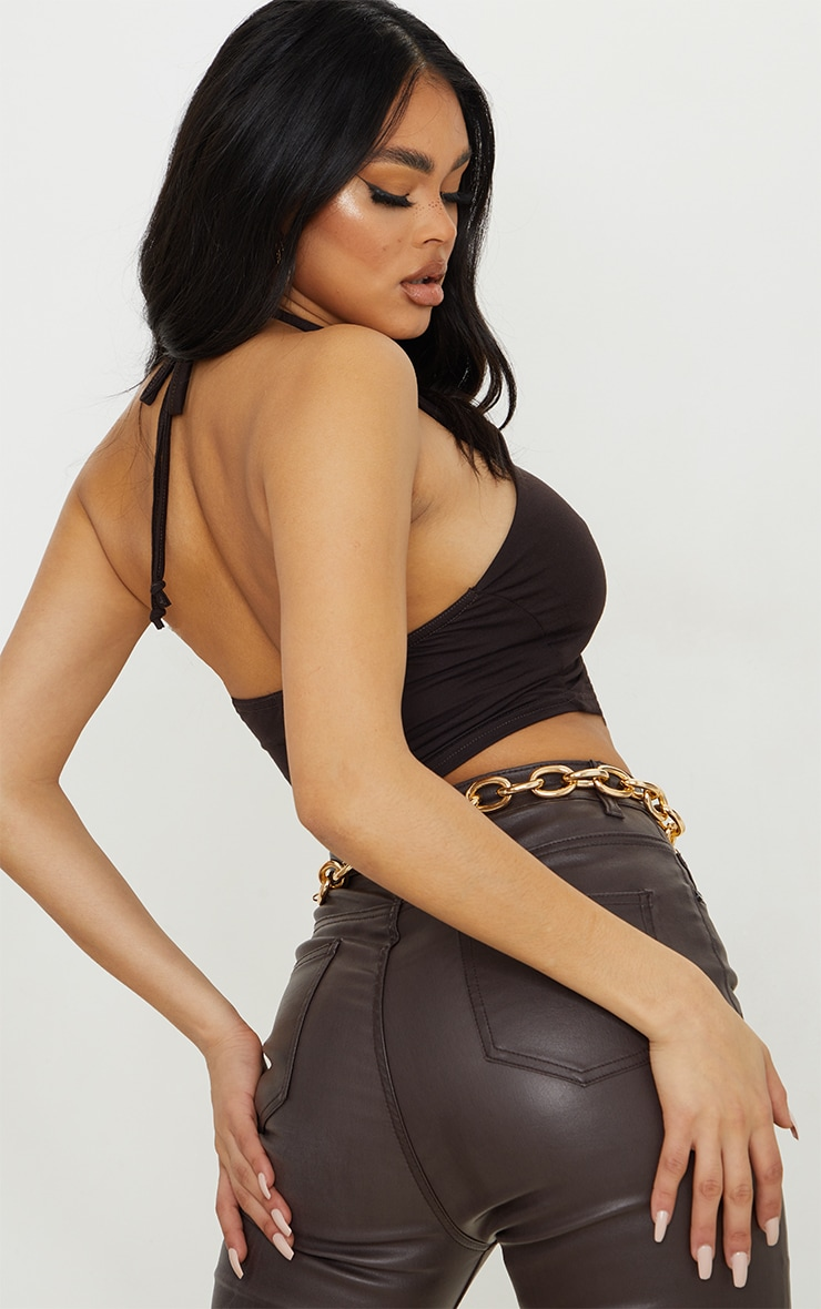 Chocolate Jersey Halter Ruched Drawstring Front Crop Top 2