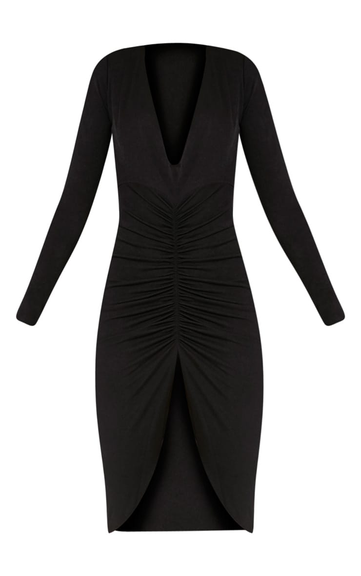 Zoey Black Ruched Midi Dress 3