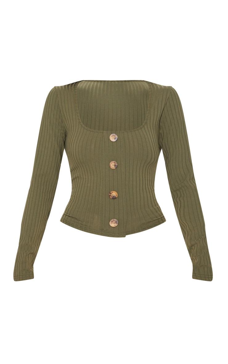 Khaki Long Sleeve Rib Button Detail Top 3