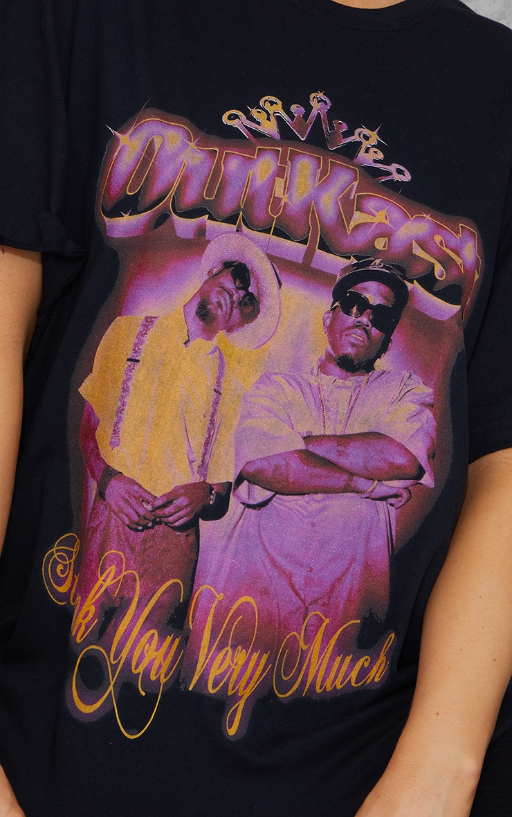 Black Outkast Thankyou Very Much Printed T Shirt 4