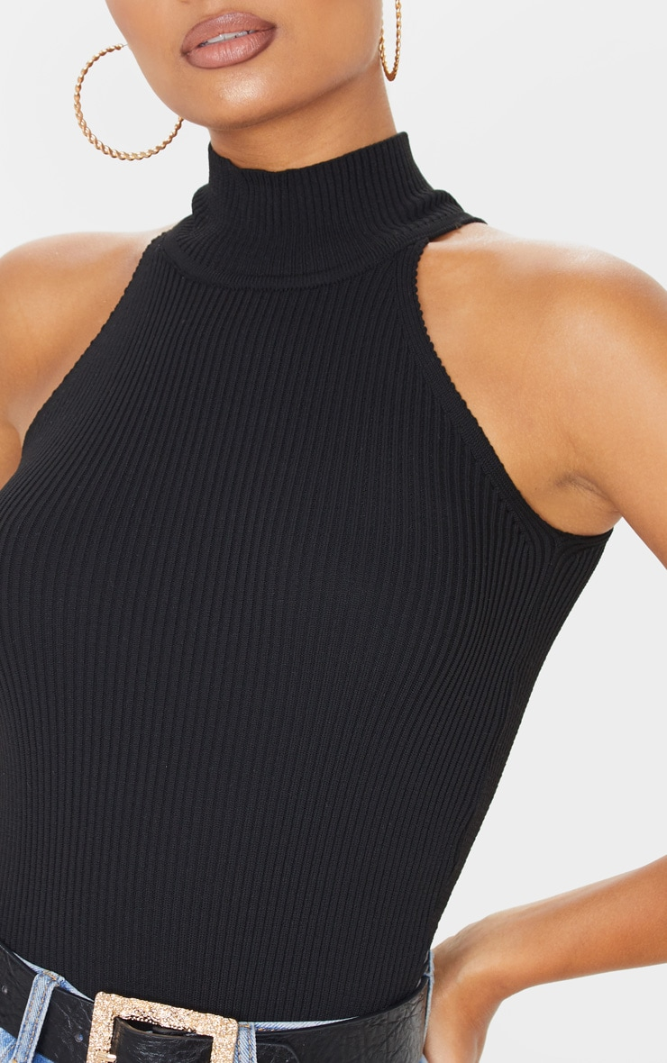 Black High Neck Knitted Sleeveless Top 5