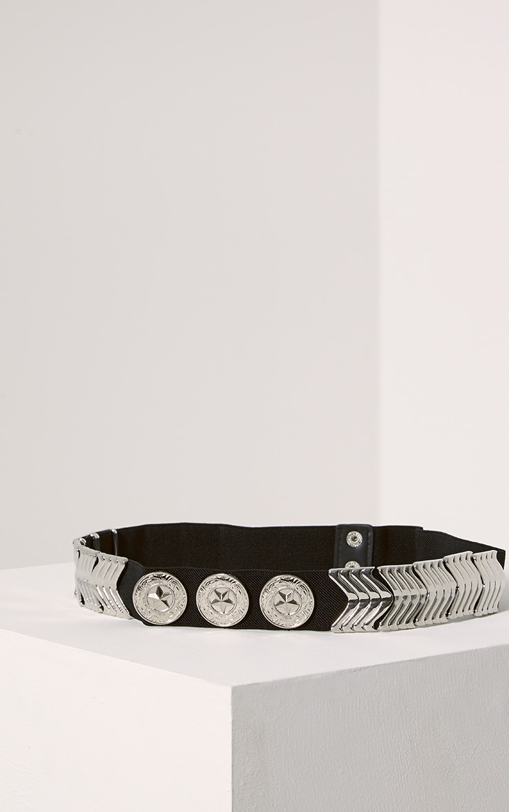 Kai Silver Disc Elasticated Belt 1