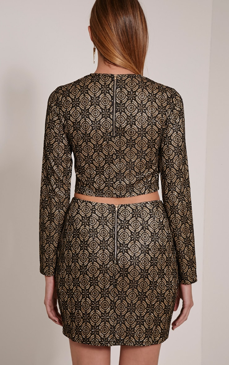 Nina Black Lace Glittery Crop Top 2