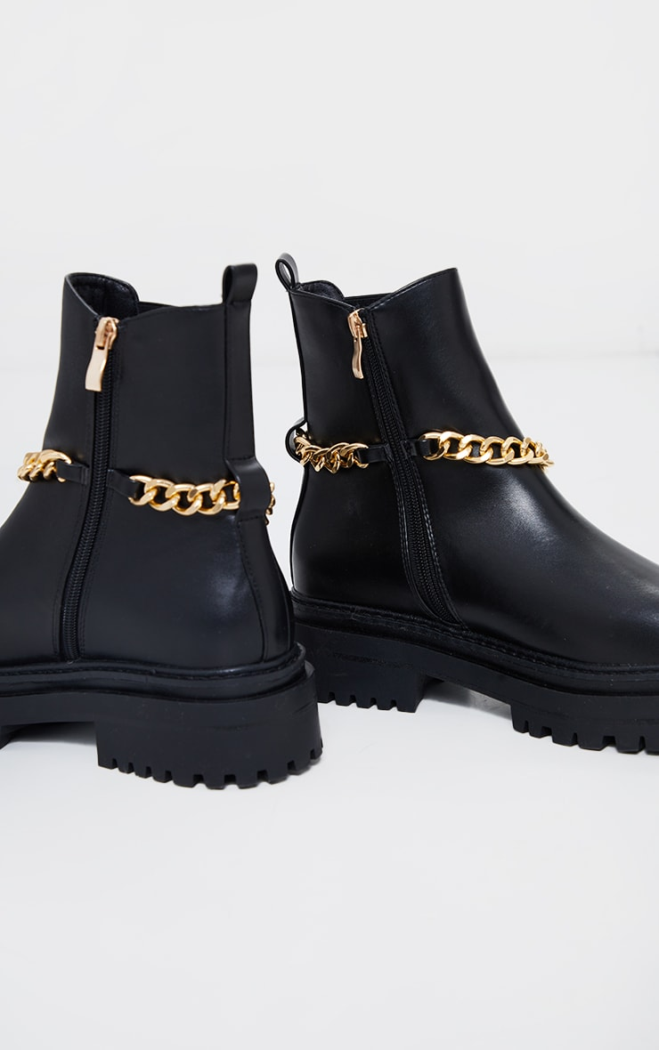 Black Chunky Chain Chelsea Boots 4