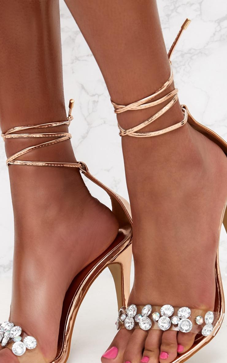 Rose Gold Diamante Strap Heeled Sandal 5