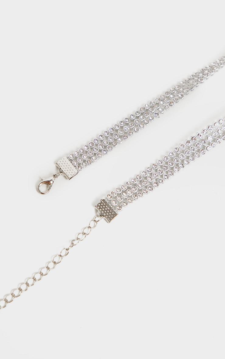 Silver Diamante Three Row Choker 3