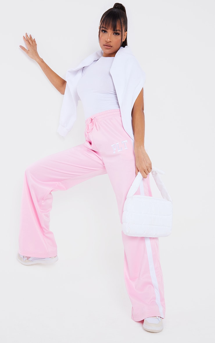 PRETTYLITTLETHING Pink Tricot Side Stripe Joggers
