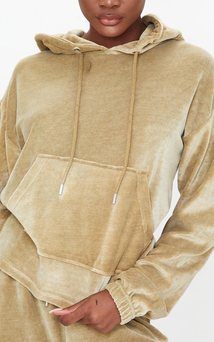 Tall Khaki Velour Cropped Hoodie 4