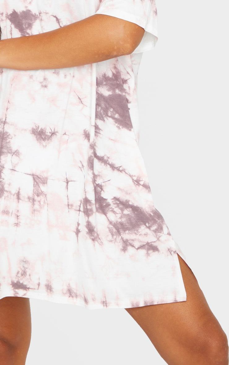 Blush Tie Dye Print T Shirt Dress 4