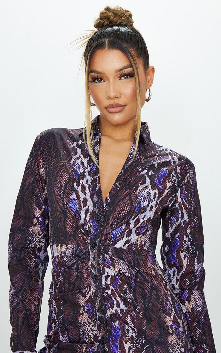 Brown Snake Print Ruched Waist Detail Plunge Shirt Dress 4