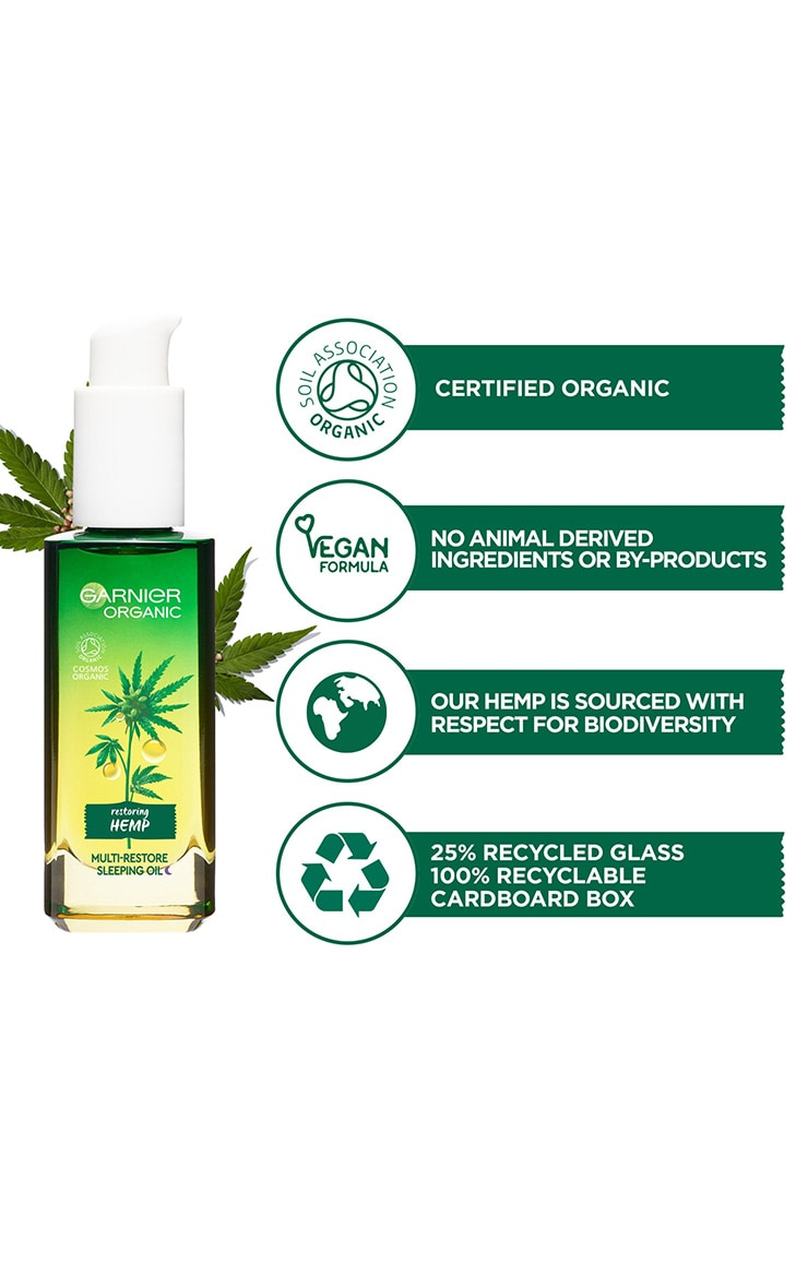 Garnier Organic Hemp Multi-Restore Facial Sleeping Oil 30ml 6
