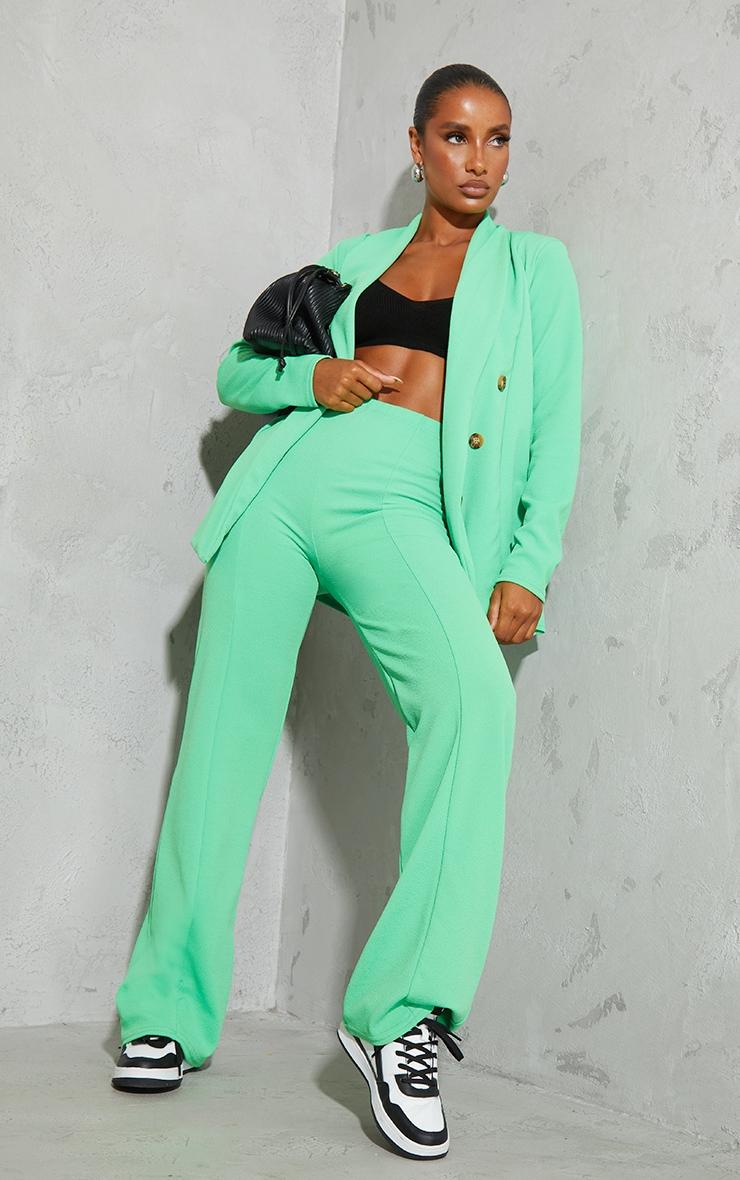 Bright Green Crepe Seam Front Wide Leg Pants 1