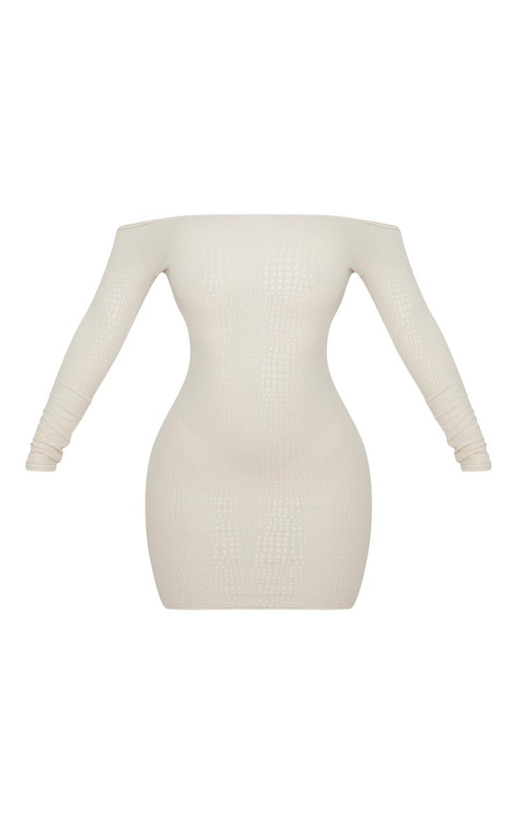 Nude Textured Croc Bardot Bodycon Dress 3
