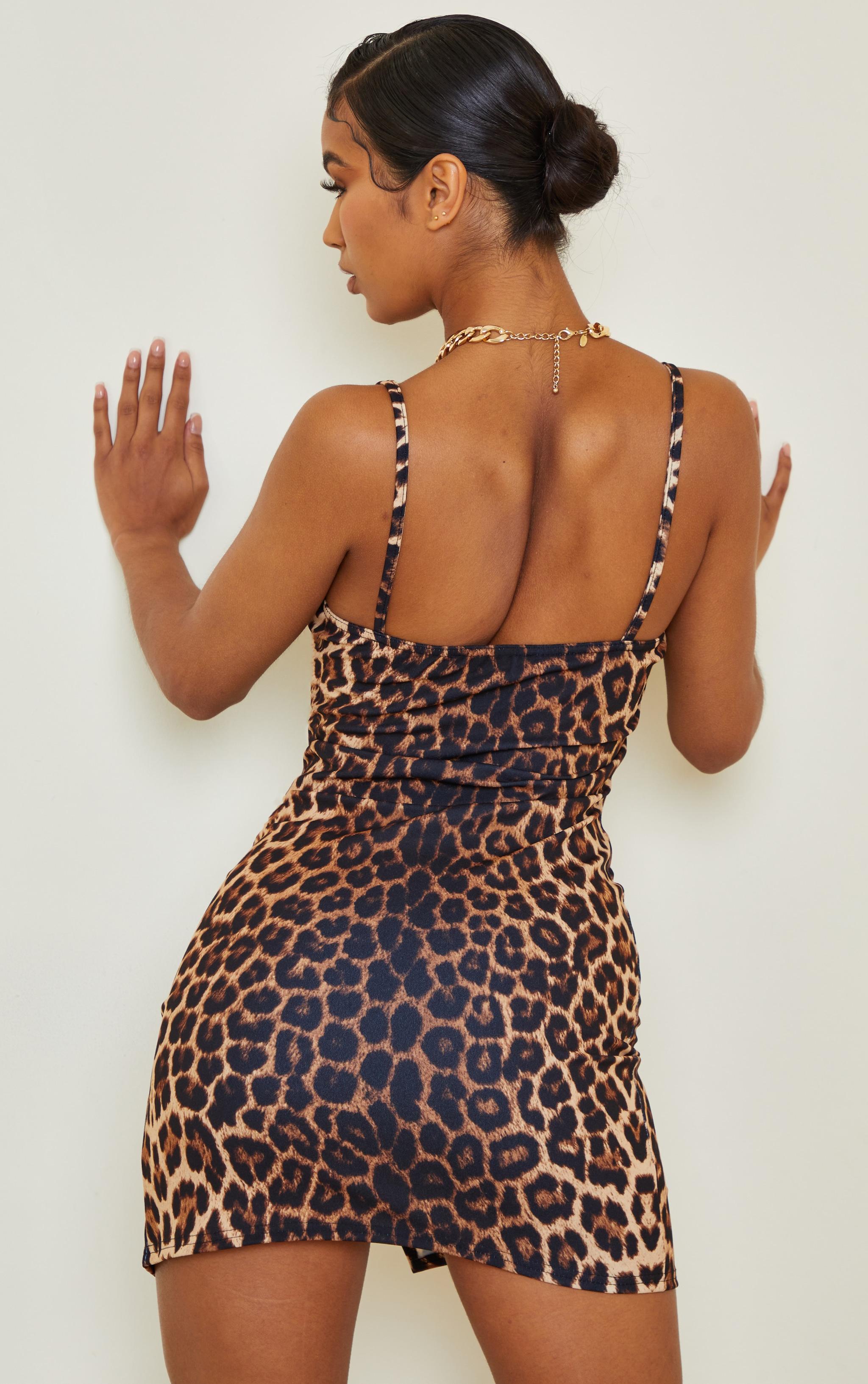 Tan Leopard Print Strappy Cup Detail Split Hem Bodycon Dress 2