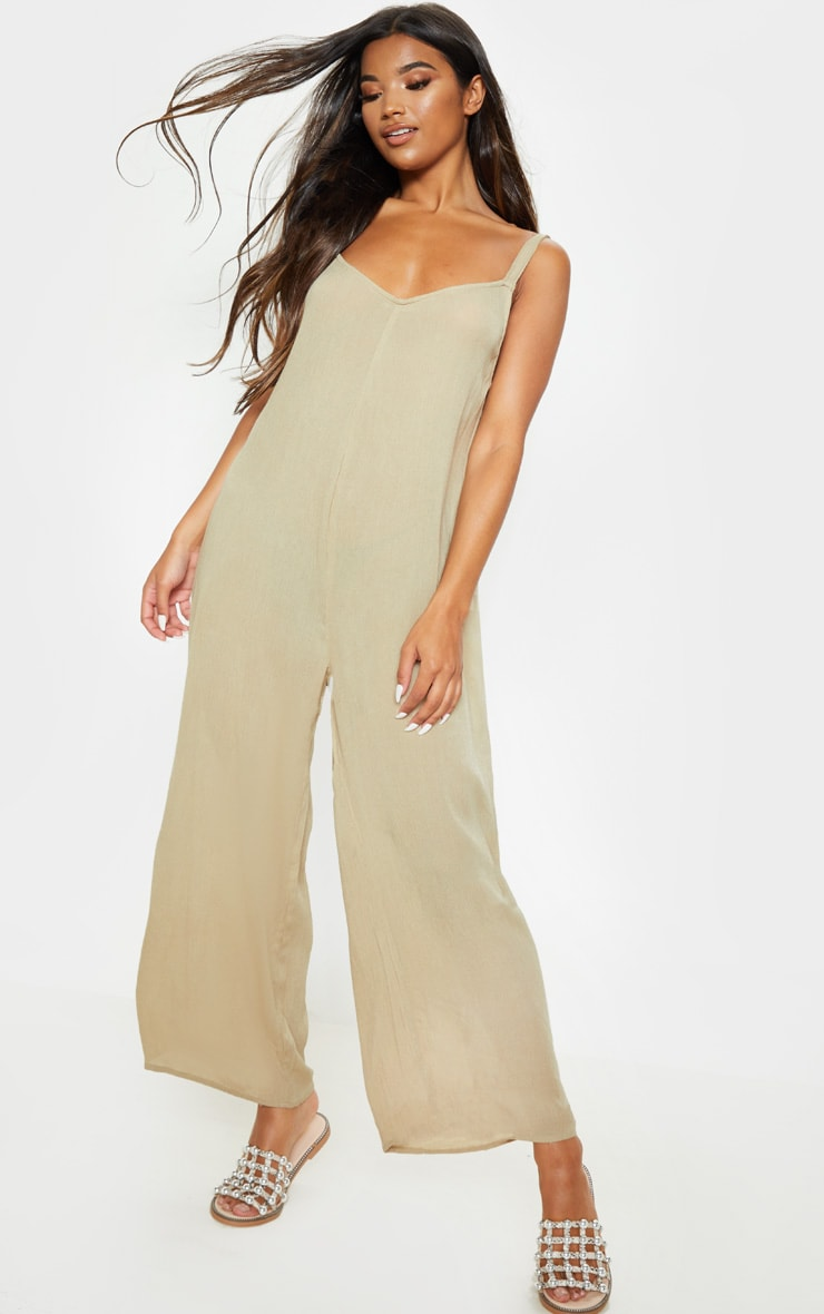 Stone Woven Culotte Slouchy Jumpsuit 1