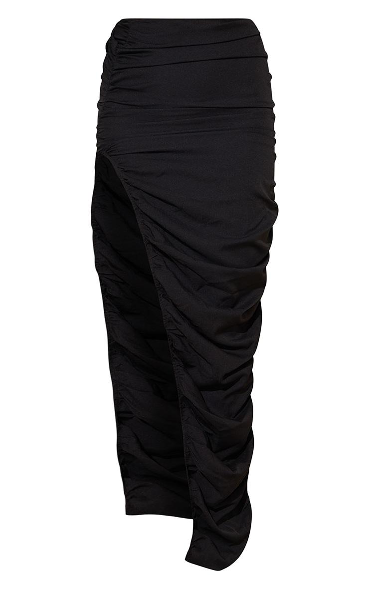Black Woven Ruched Side Detail Split Leg Midaxi Skirt 5