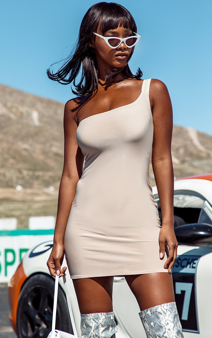 PRETTYLITTLETHING Nude One Shoulder Slinky Bodycon Dress