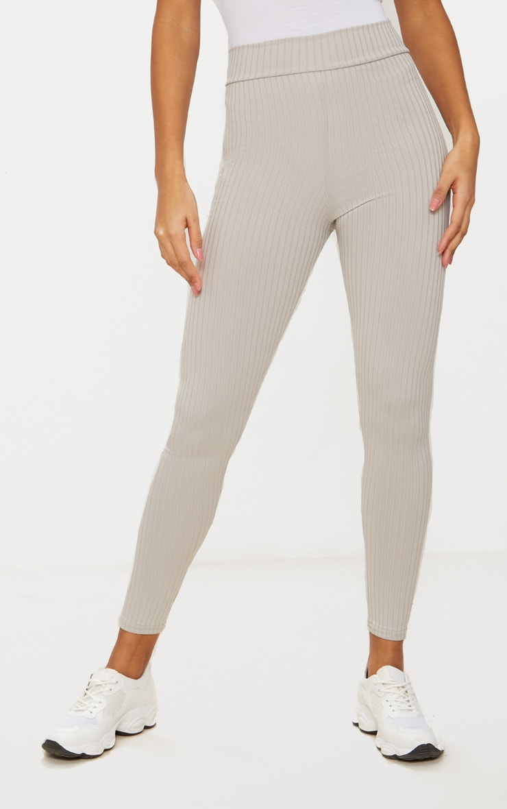 Harlie Grey Ribbed High Waisted Leggings 2