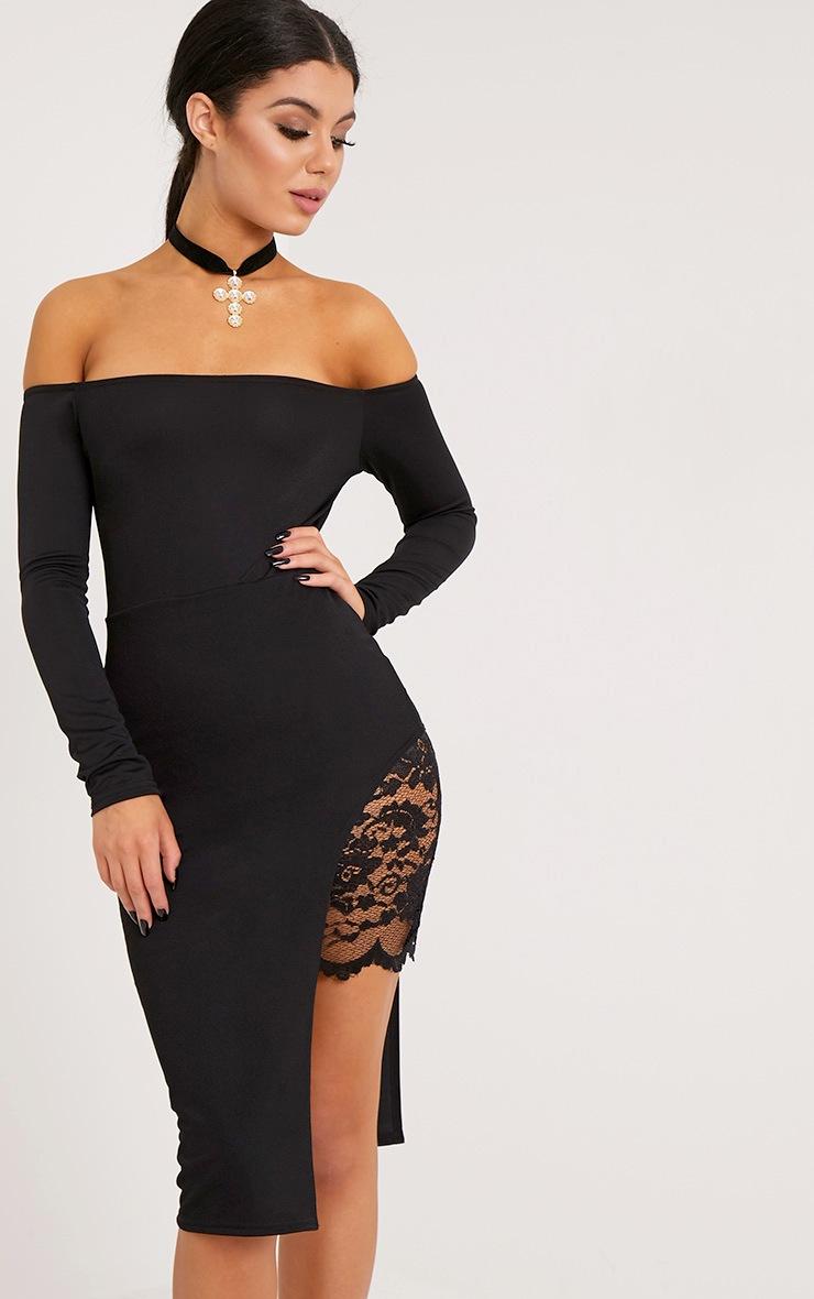 Florrie Black Bardot Lace Panel Midi Dress 4