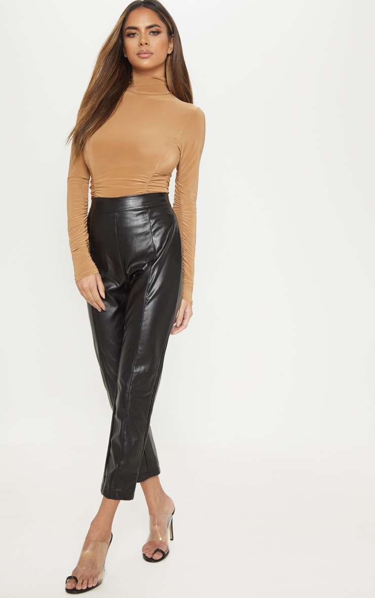 Champagne Slinky High Neck Ruched Bodysuit 5