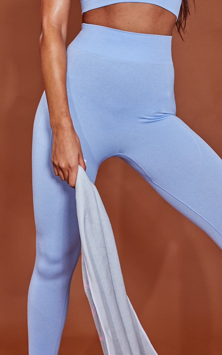 PRETTYLITTLETHING Blue Marl Contour Cropped Seamless Leggings 4