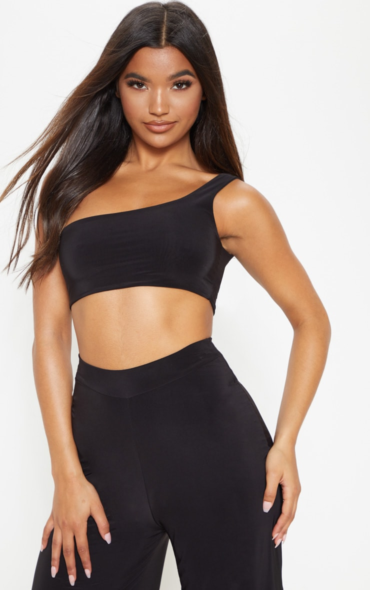 Black Slinky One Shoulder Crop Top 1