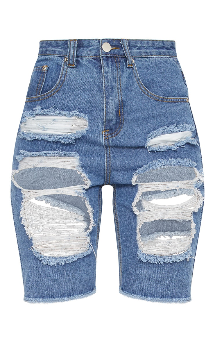 Mid Wash Extreme Distressed Denim Bike Shorts 3