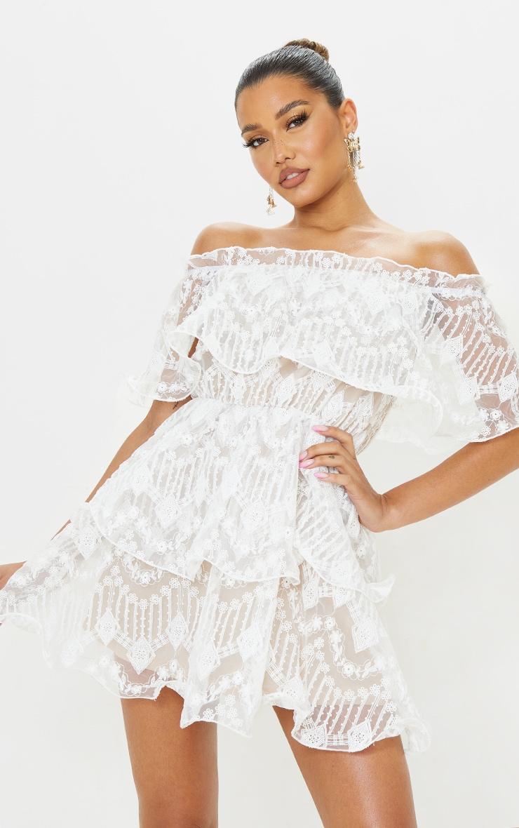 White Lace Bardot Ruffle Tiered Dress 1