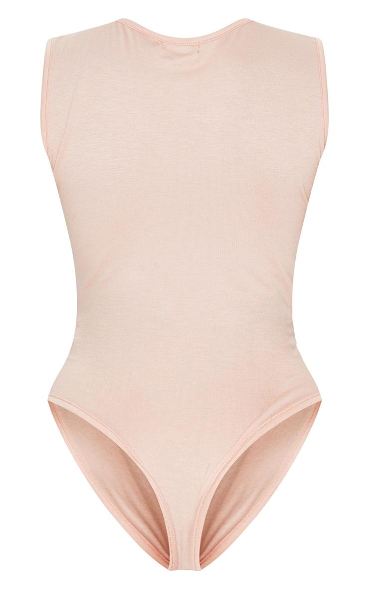 Basic Nude Round Neck Thong Bodysuit 6