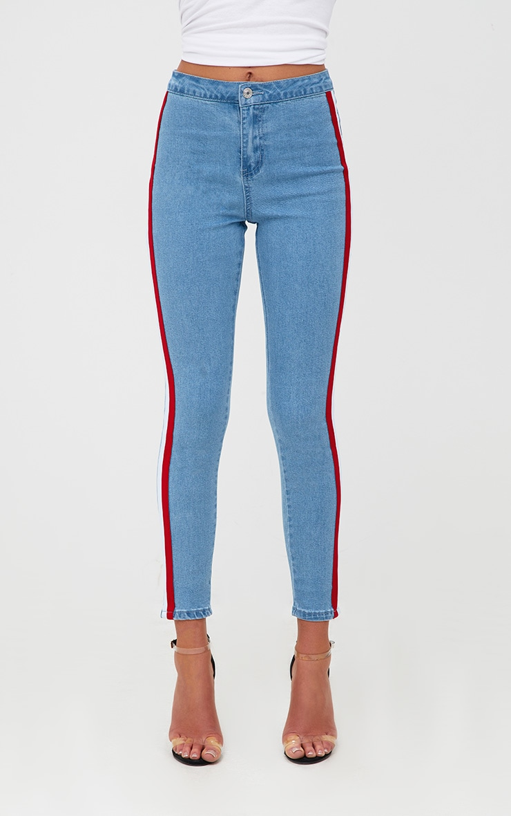 Mid Wash Sports Stripe High Waisted Skinny Jean 2