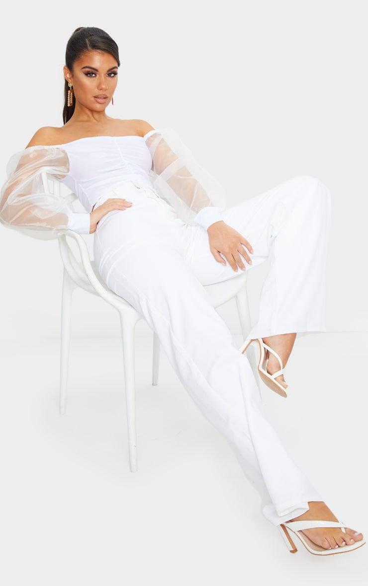 White Slinky Sheer Organza Puff Sleeve Bardot Crop Top 4