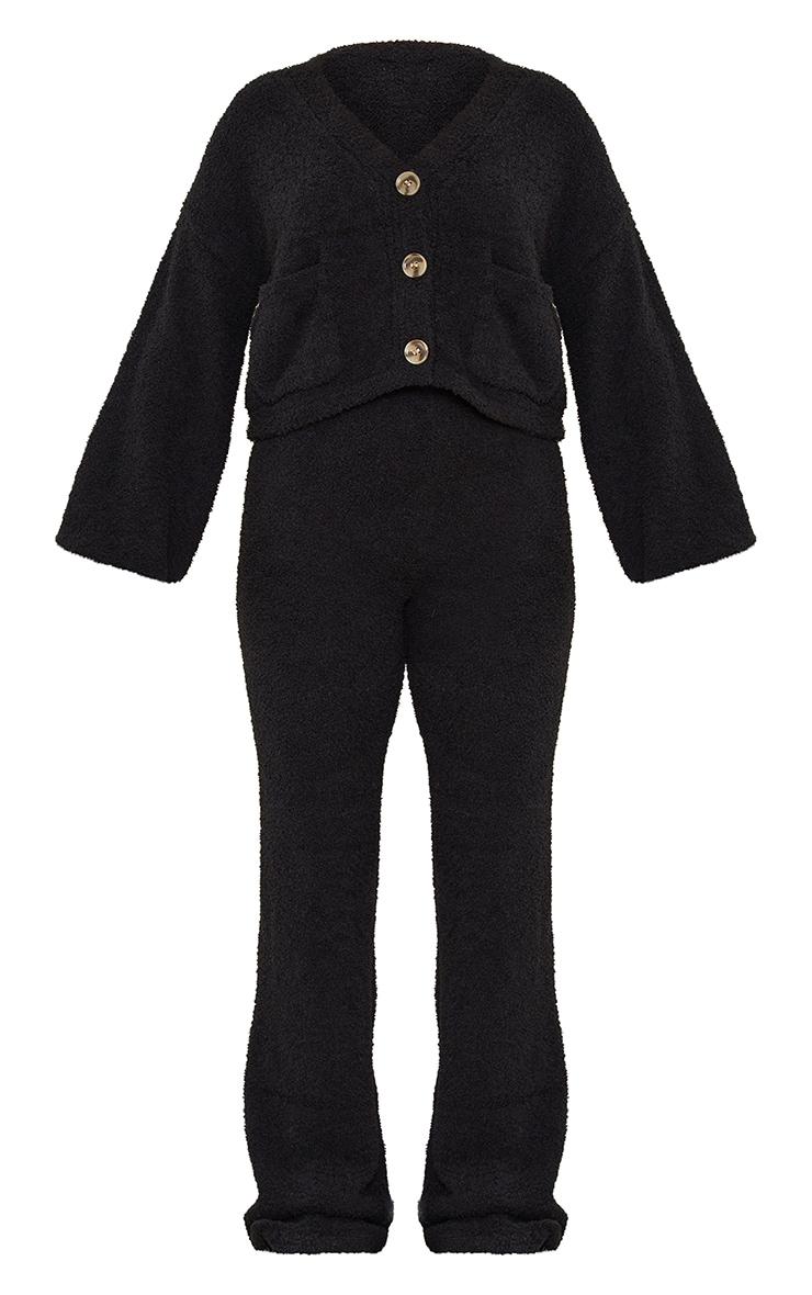Petite Black Premium Fluffy Knit Wide Leg Set 5