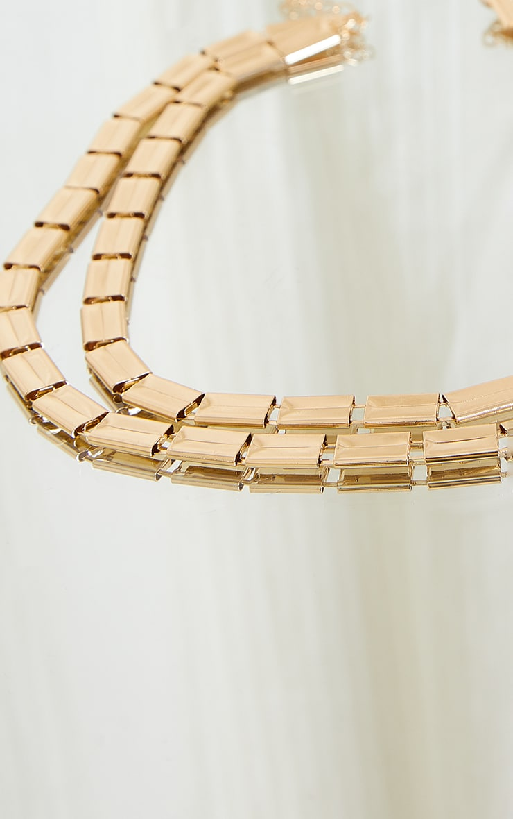 Gold Chunky Square Chain Layering Necklace 4