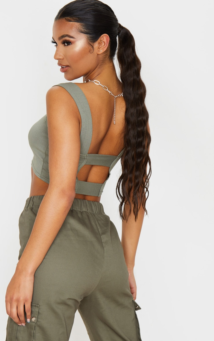 Khaki Jersey Strappy Cut Out Crop Top 5