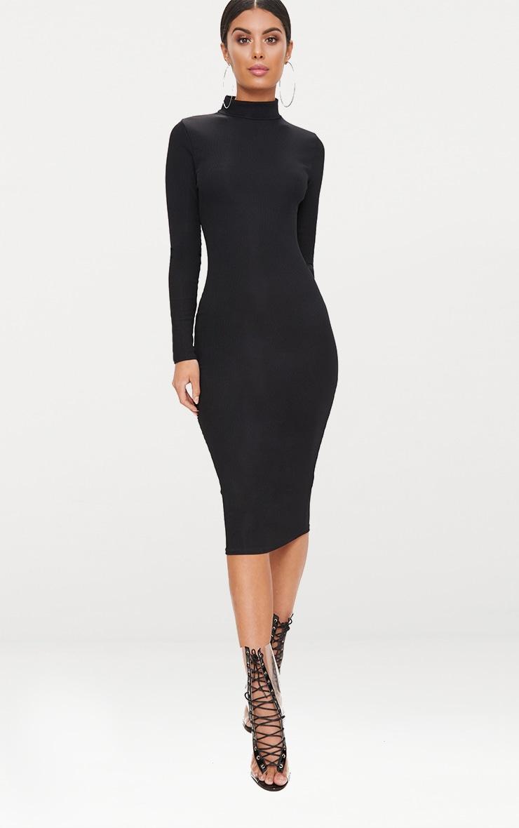 Black Ribbed Long Sleeve Midi Dress 1