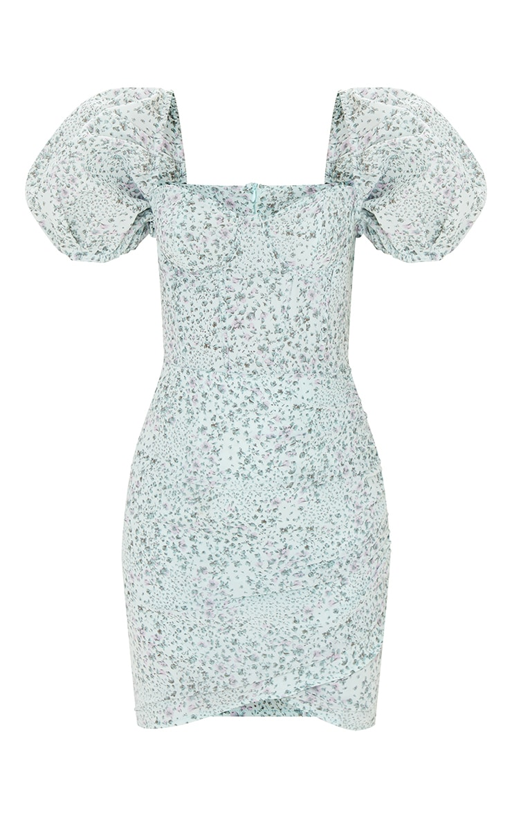Mint Ditsy Print Binding Detail Ruched Hem Bodycon Dress 5