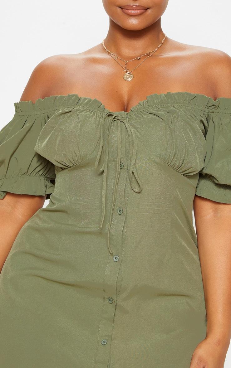 Plus Khaki Bardot Button Front Shift Dress 5