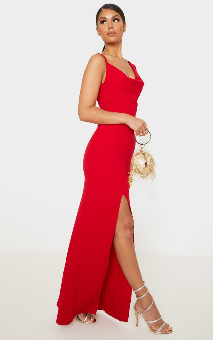 Red Asymmetric Cowl Neck Maxi Dress 4