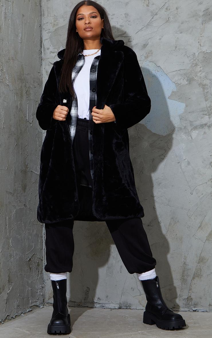 Black Faux Fur Pocket Front Midi Coat 1