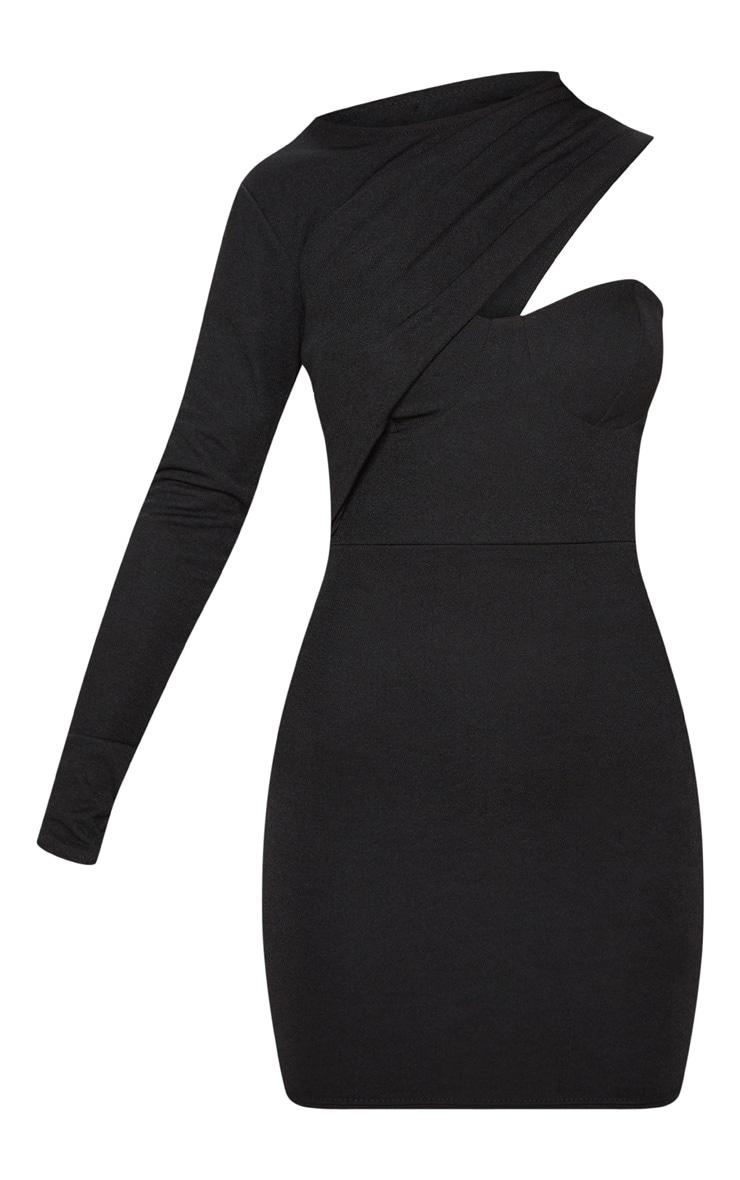 Black One Shoulder Detail Bodycon Dress 3