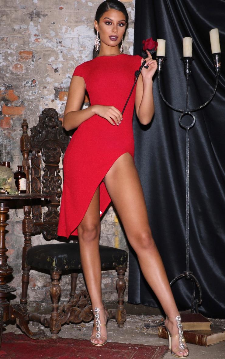 Ribbed Red Extreme Split Cap Sleeve Midi Dress 1