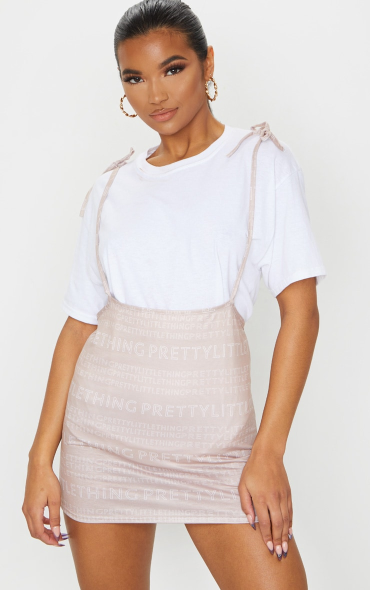 PRETTYLITTLETHING Nude Print Tie Shoulder Jersey Pinafore Dress 3