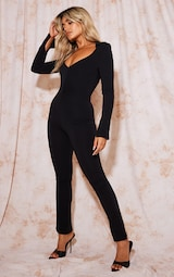 Recycled Petite Black Contour Jersey Ruched Front Jumpsuit 3